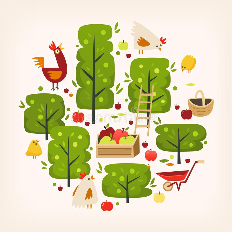 Apple trees, and farm landscape scene arranged in circle. Vector illustration royalty free illustration