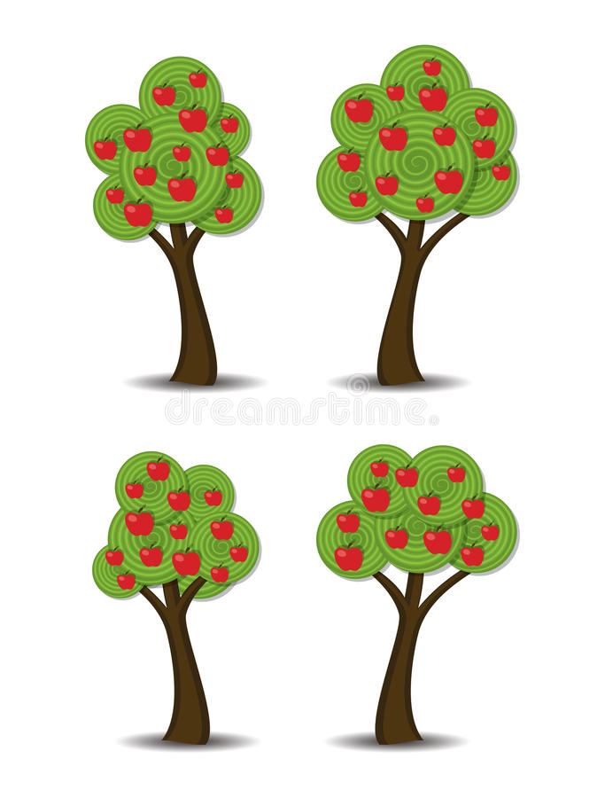 Apple trees with fruits, vector. Group of stylized abstract apple trees with fruits, vector royalty free illustration