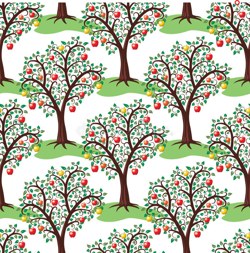 Apple trees with fruits, vector. Seamless repeating pattern with apple trees with fruits, vector stock illustration