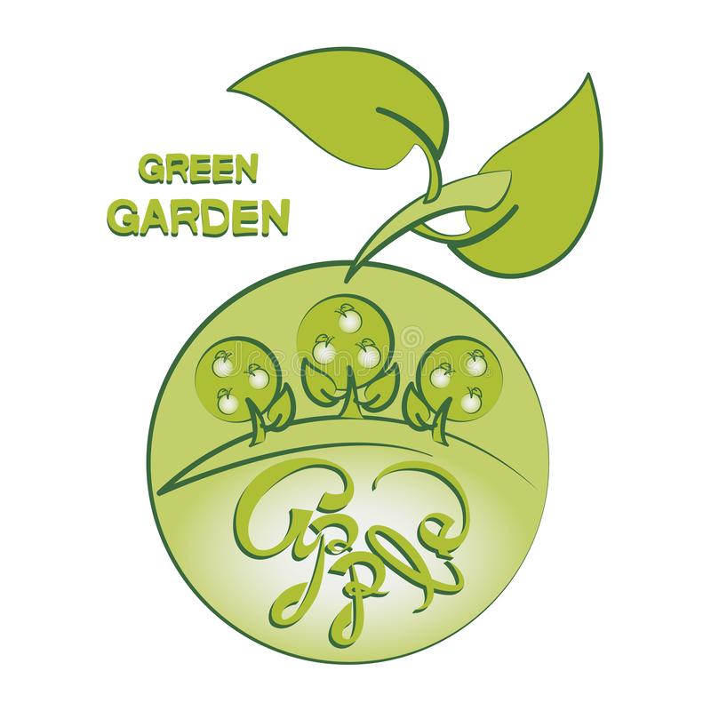 Apple trees and apple. GREEN GARDEN. Logo. Emblem. Label. Composition for farm products. Design for printing on paper or fabric, decoration of packaging for vector illustration