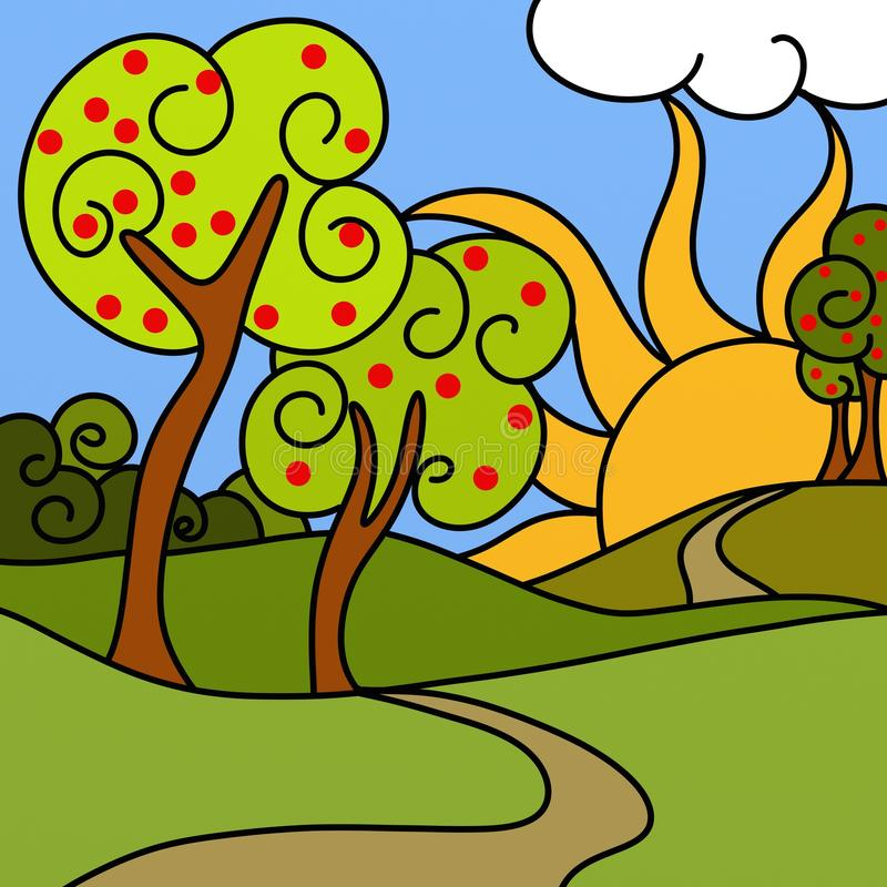 Apple trees and hills. Design with apple trees and hills vector illustration