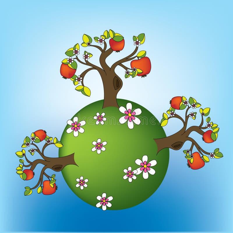 Apple trees on planet. Three apple trees on planet royalty free illustration