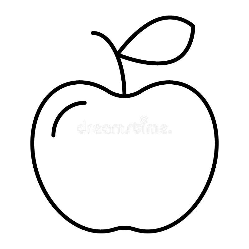 Apple tunn linje symbol Fruktvektorillustration som isoleras på vit Design för vitaminöversiktsstil som planläggs för rengöringsd royaltyfri illustrationer