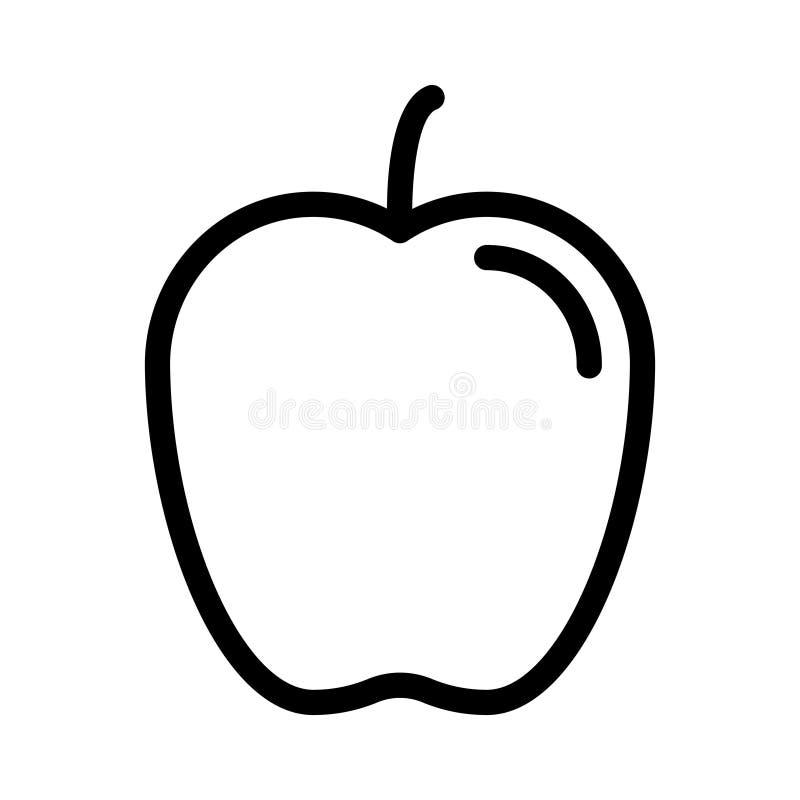Apple tunn linje vektorsymbol royaltyfri illustrationer