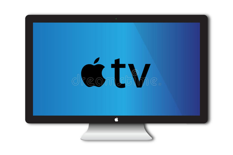 Apple TV Concept. With the advent of Apple Black box TV Technology it is good to speculate what the monitor will look like when Apple launch their HD TV screen stock illustration