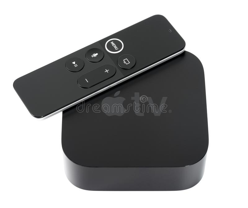 Apple TV 4K. UFA, RUSSIA - 16 JUNE, 2018: Apple announced the 5th generation Apple TV, named Apple TV 4K, which supports 2160p output, HDR10, Dolby Vision, and royalty free stock photos