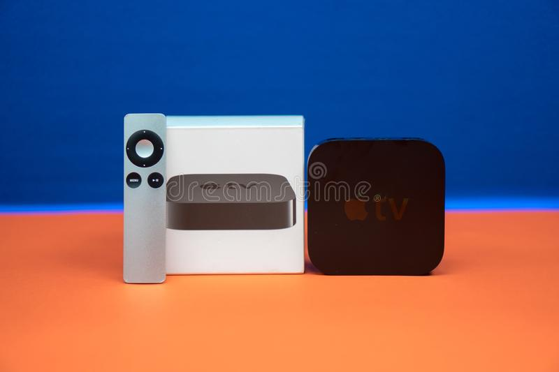 Apple TV media streaming player microconsole by Apple Computers royalty free stock photo