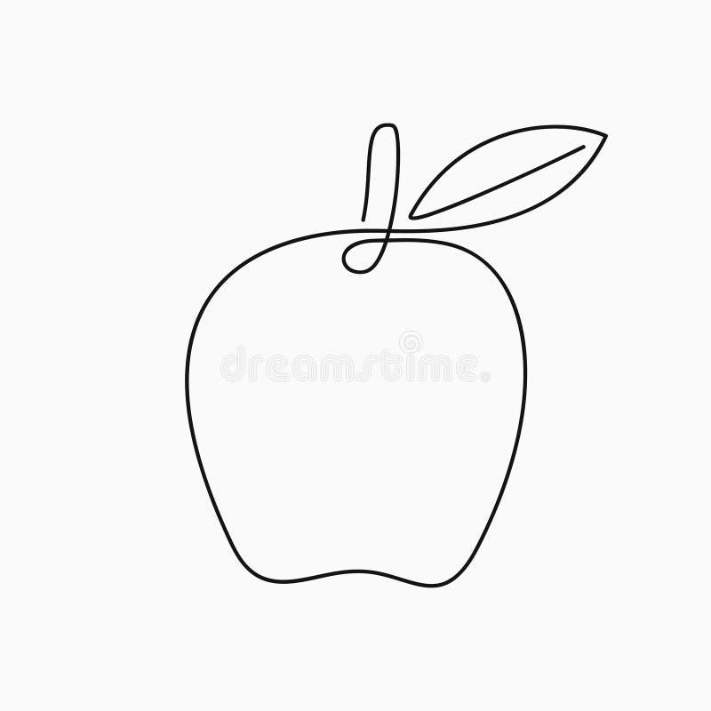 Apple - um a lápis desenho Linha contínua fruto Ilustração minimalista desenhado à mão ilustração royalty free