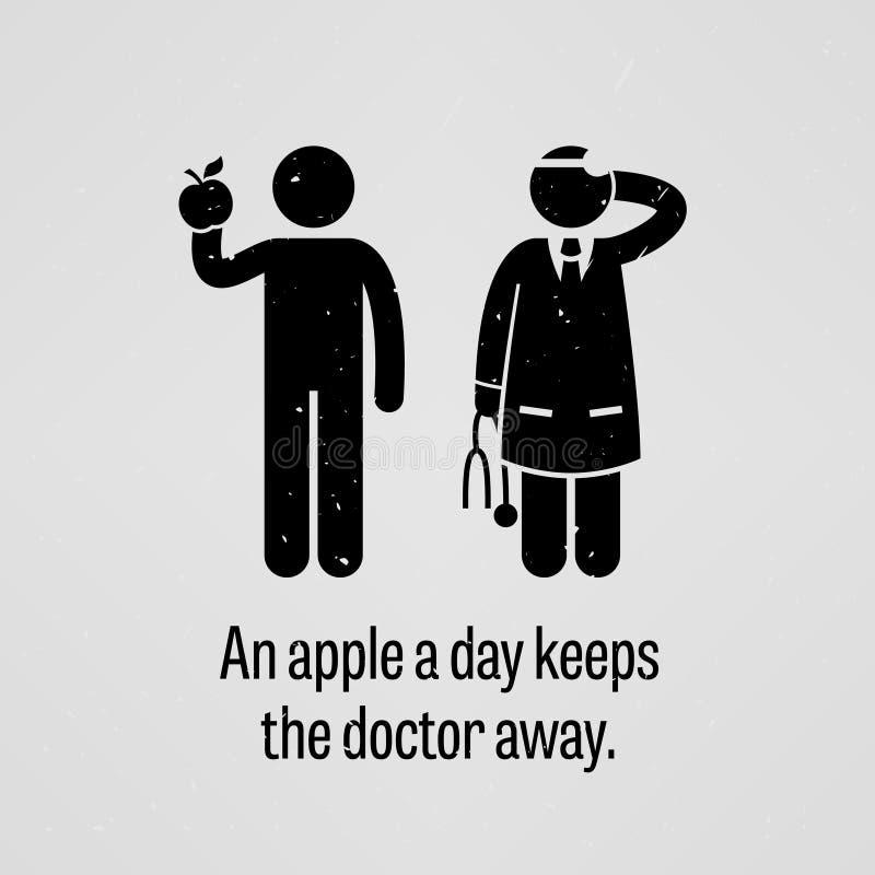 Apple un il giorno tiene il dottore Away Proverb illustrazione vettoriale