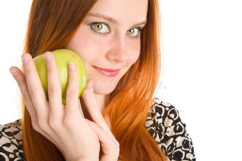 Apple und Mädchen stockfotografie
