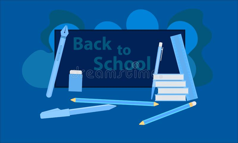 Apple und Milch gegen eine Tafel mit zur?ck zu Schulemeldung auf ihr Ausrüstung des Lernens das Lernen genießen und Zukunft zu sc vektor abbildung