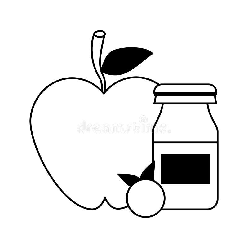 Apple und rote Frucht mit yogurth Flasche in Schwarzweiss lizenzfreie abbildung