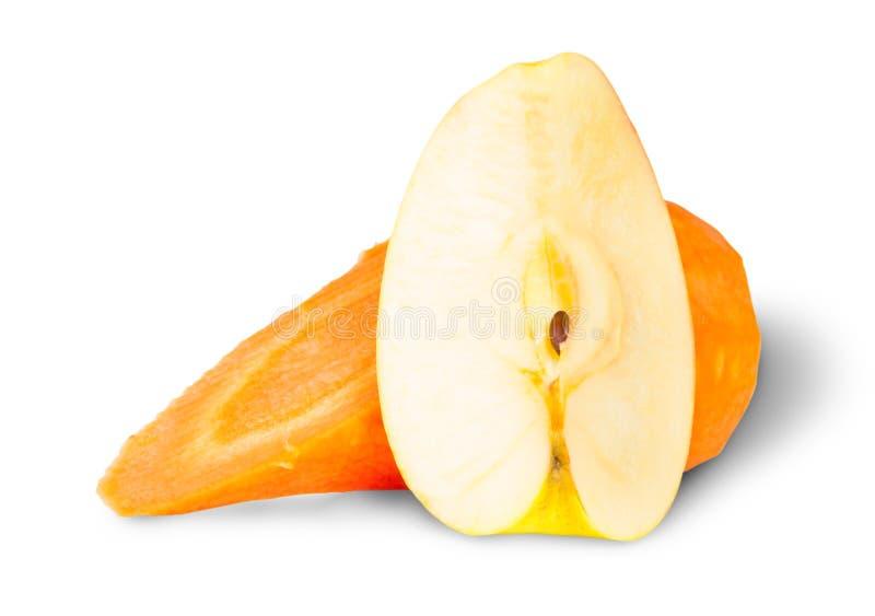 Apple und Scheiben-Karotte lizenzfreies stockfoto