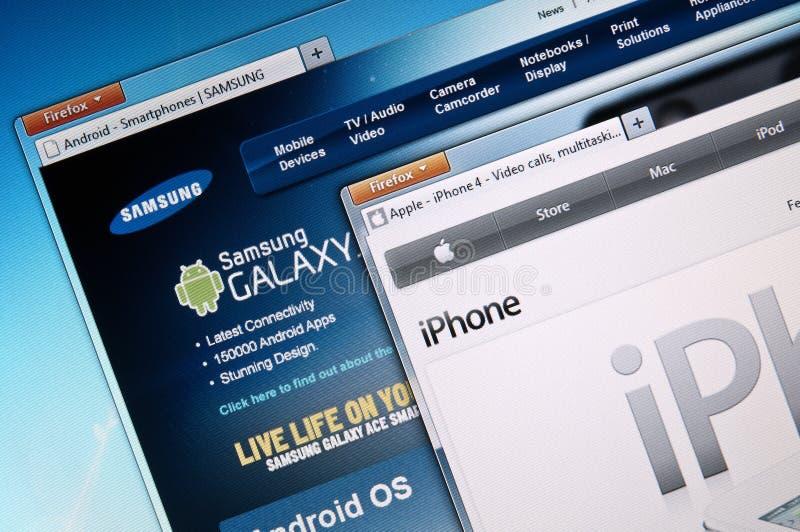 Apple v Samsung royalty free stock photography