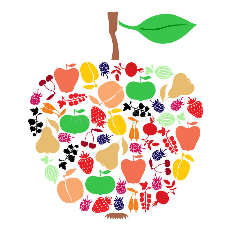 Apple van vruchten en bessen stock illustratie