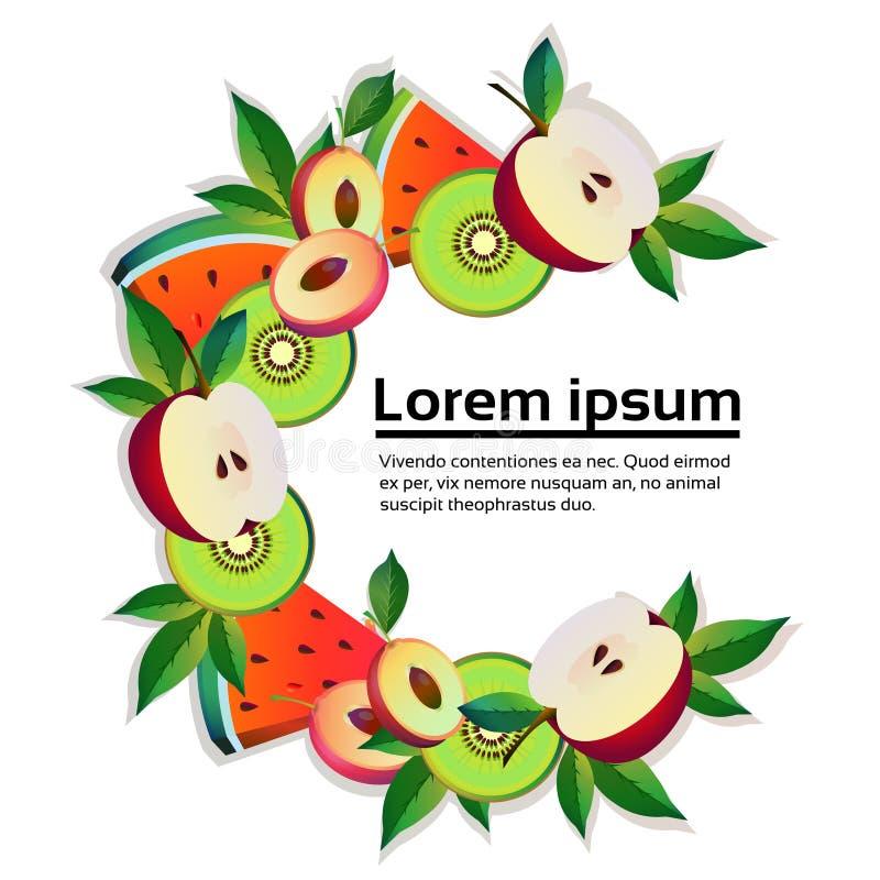 Apple vattenmelon, för cirkelkopian för kiwi som färgrikt utrymme är organiskt över sund livsstil för vit bakgrund eller, bantar  royaltyfri illustrationer