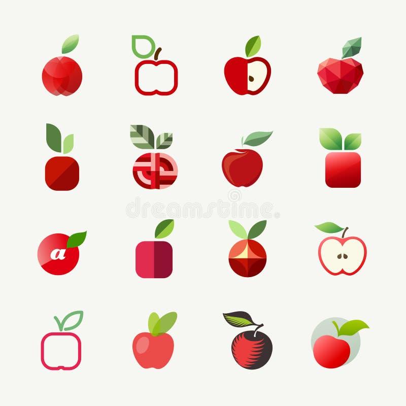Apple. Vector logo templates set. Elements for design stock illustration