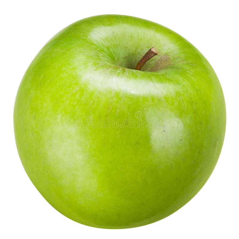 Apple verde aislado en blanco Con la trayectoria de recortes imagenes de archivo