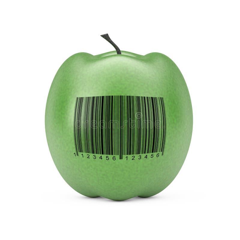 Apple verde fresco com código de barras rendi??o 3d ilustração stock