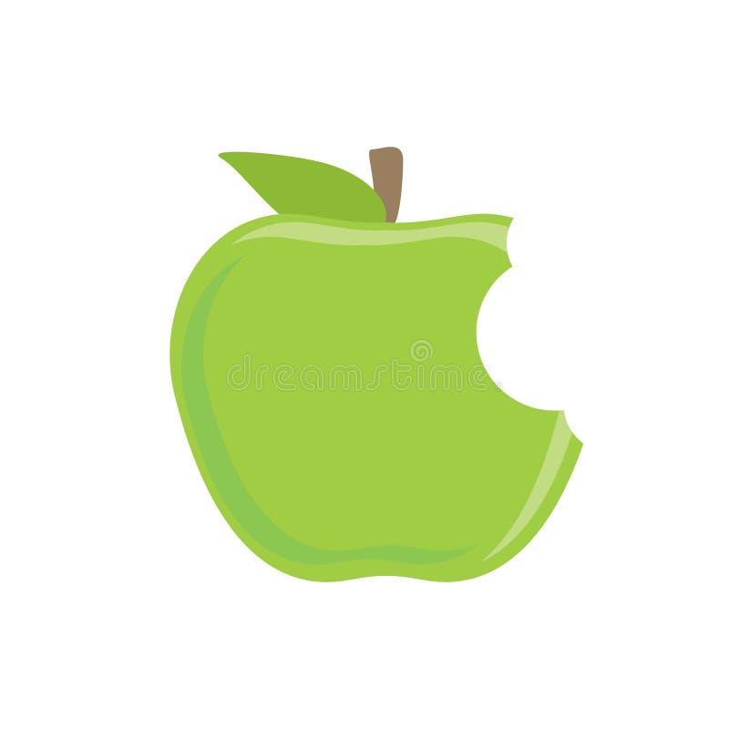 Apple verde mordido ilustração do vetor