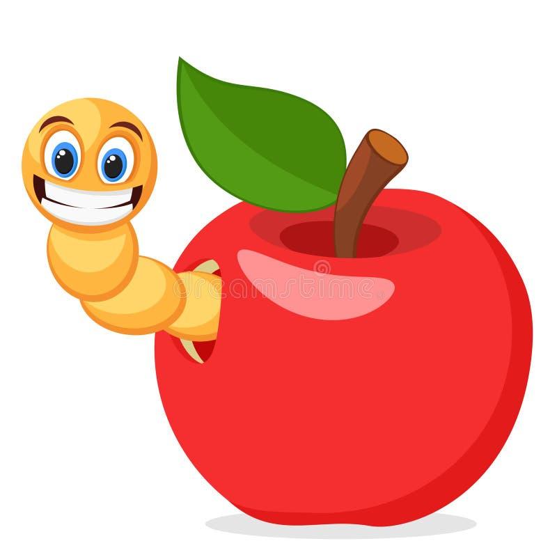 Apple vermelho com sem-fim em um fundo branco ilustração royalty free