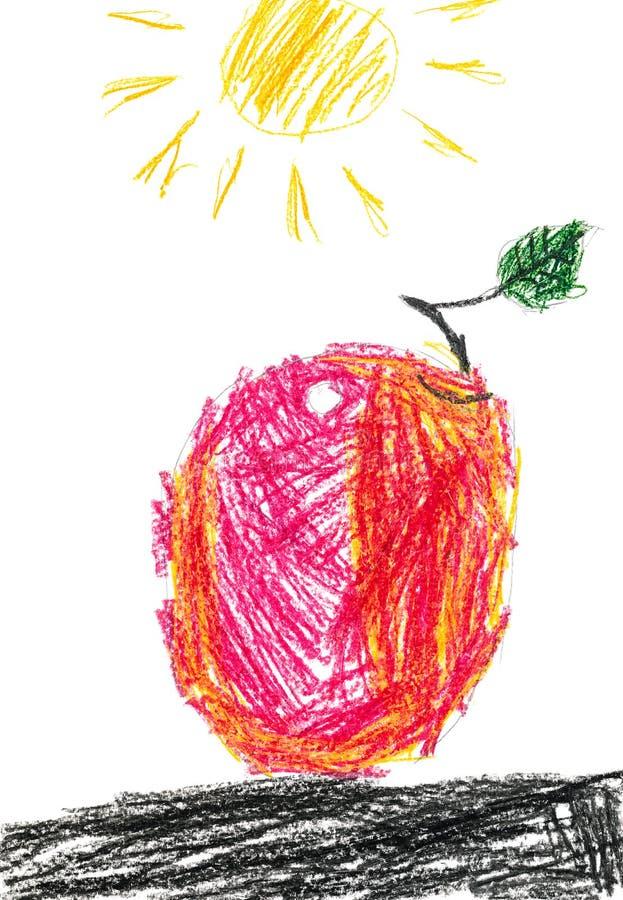 Apple vermelho e Sun desenho de lápis das crianças ilustração stock