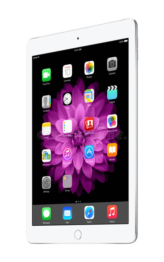 Apple versilbern iPad Luft 2 mit IOS 8, entworfen durch Apple Inc stockfotos