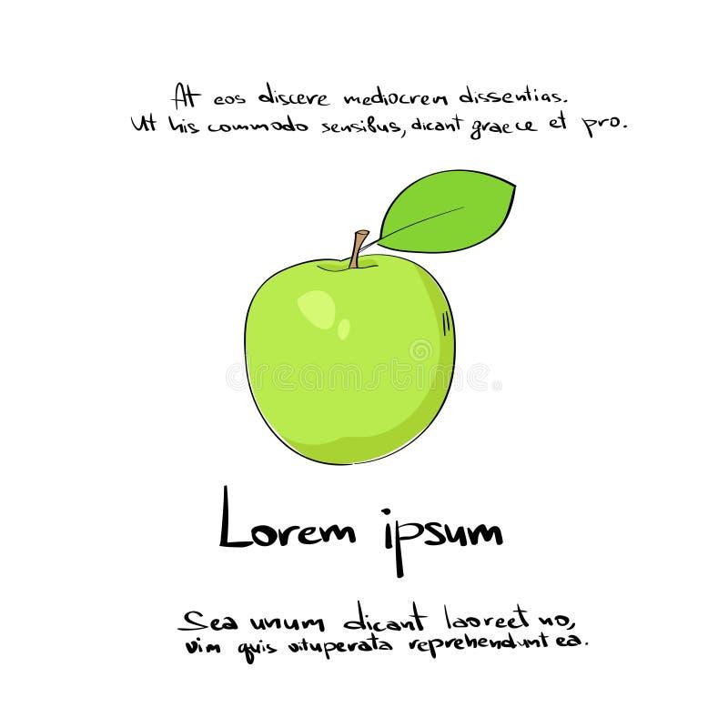 Apple vert remettent l'aspiration Logo Color Vector illustration stock