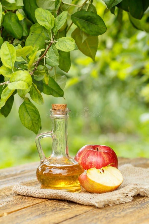 Apple vinäger i glasflaska och nya röda äpplen på träboa arkivbild
