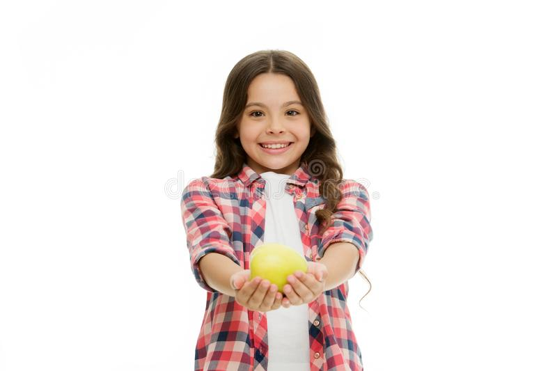 Apple vitamin snack. Girl cute long curly hair holds apple fruit white background. Child girl casual clothes holds apple. Child kid happy face like apple stock photo