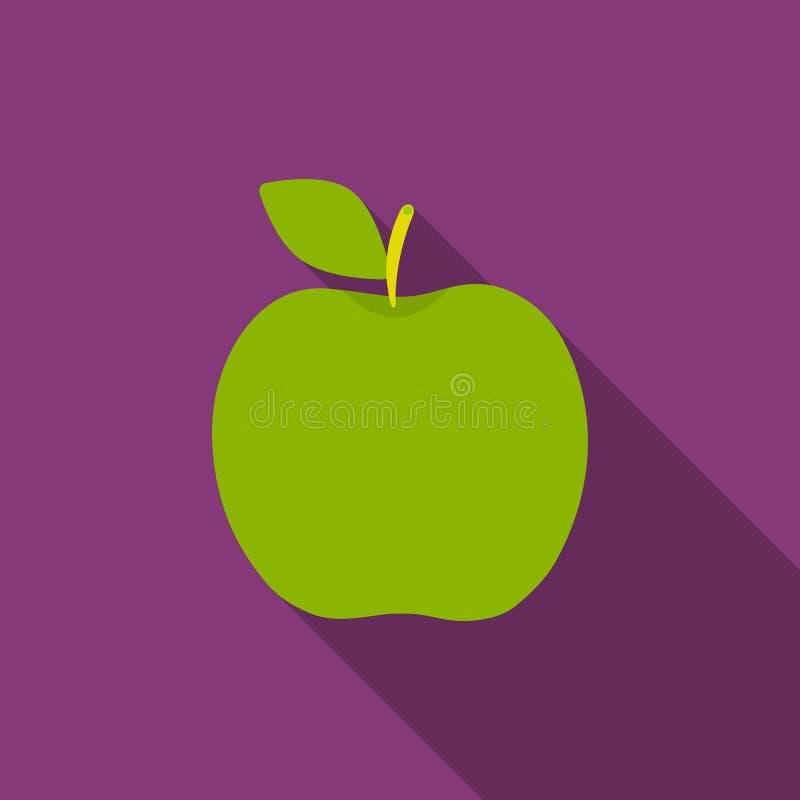 Apple-vlak pictogram Het pictogram van het schroeiplekfruit vector illustratie