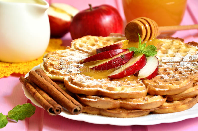 Apple waffles. Apple waffles for a breakfast stock photography