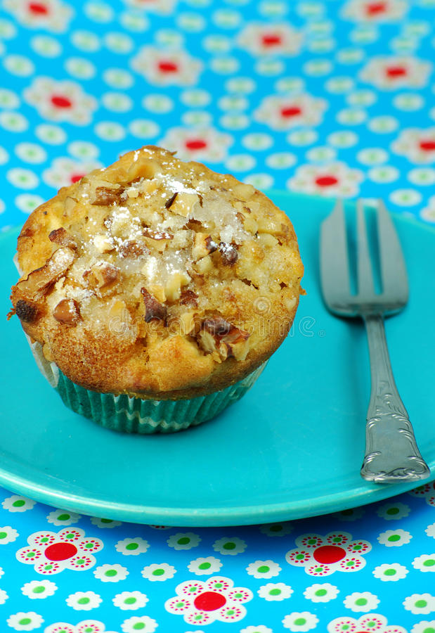 Apple and Walnut muffin royalty free stock photography