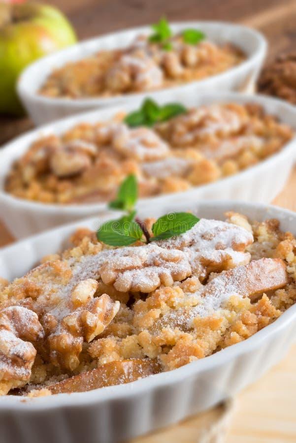 Apple Walnut streusel cake royalty free stock photos