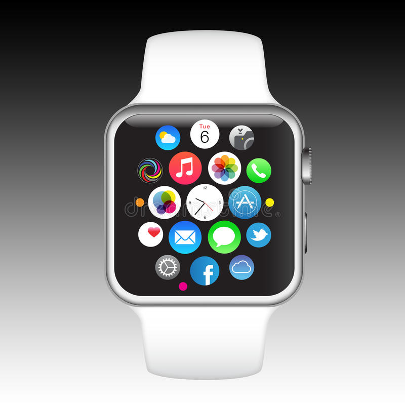 Apple iPhone watch. The new Apple Watch or iWatch is the most personal product Apple has ever developed as its the first Apple product designed to be worn. Along royalty free illustration