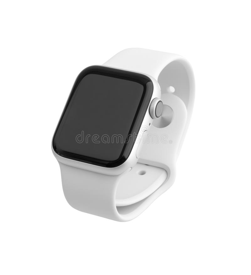 Apple Watch Series 4 on white background. Rostov-on-Don, Russia - October 2018. Apple Watch Series 4 on white background. New smartwatch from APPLE company royalty free stock images