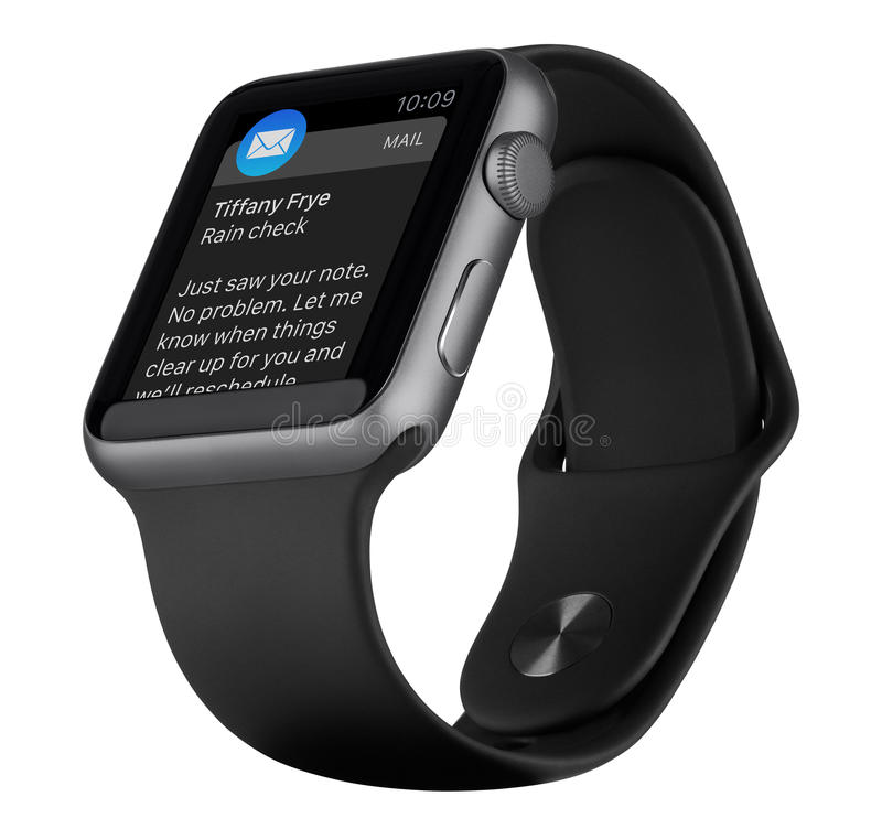 Apple Watch Sport 42mm Space Gray Aluminum Case with Black Band stock photo