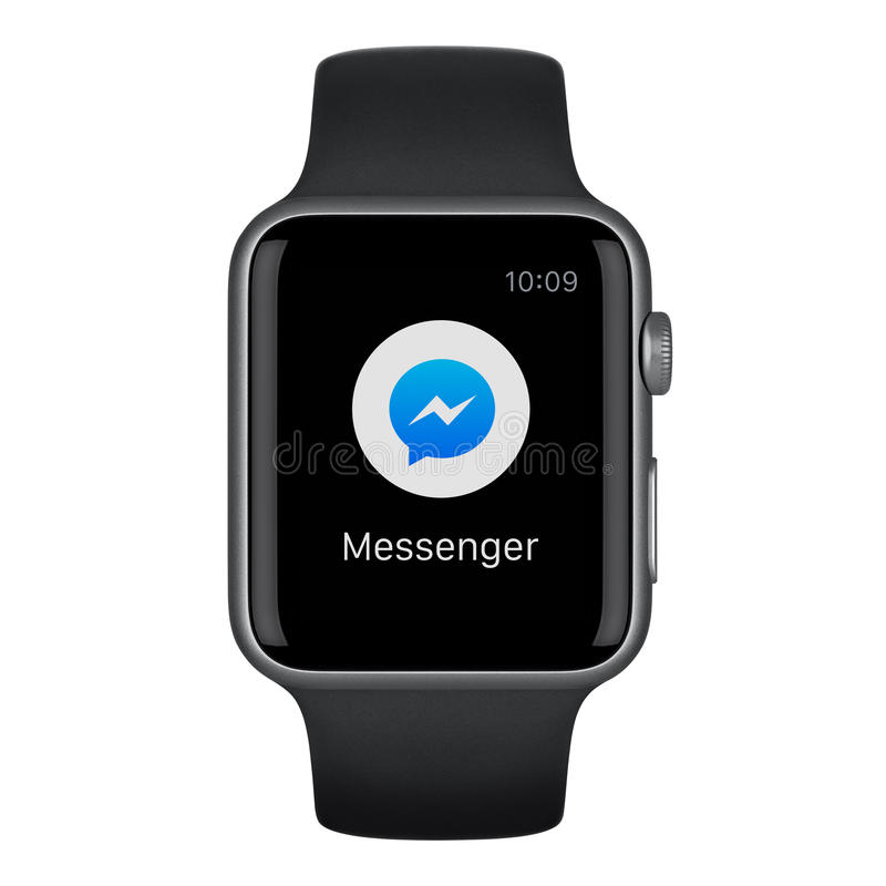 Apple Watch Sport 42mm Space Gray Aluminum Case with Black Band stock photos