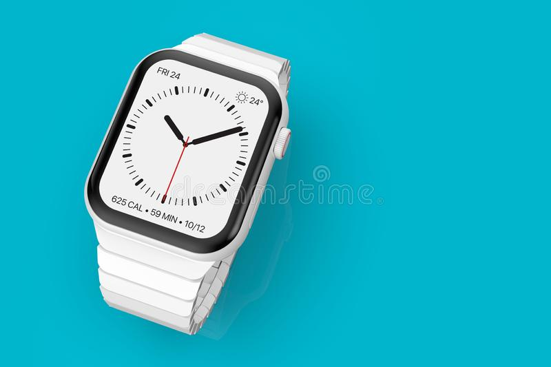Apple Watch 4 white ceramic fictional rumor device, mockup vector illustration