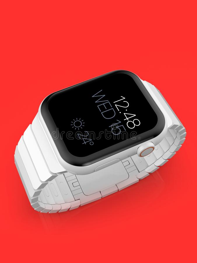 Apple Watch 4 white ceramic fictional rumor smartwatch, mockup royalty free illustration