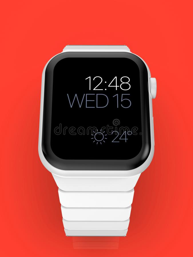 Apple Watch 4 white ceramic fictional rumor smartwatch, mockup stock illustration