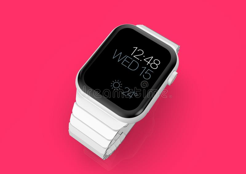 Apple Watch 4 white ceramic fictional rumor smartwatch, mockup vector illustration