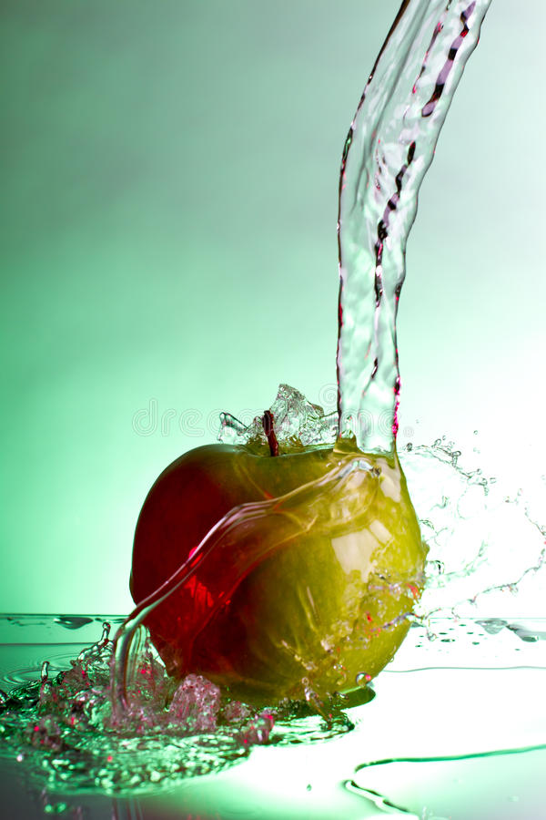 Apple Water Splash Stock Photo