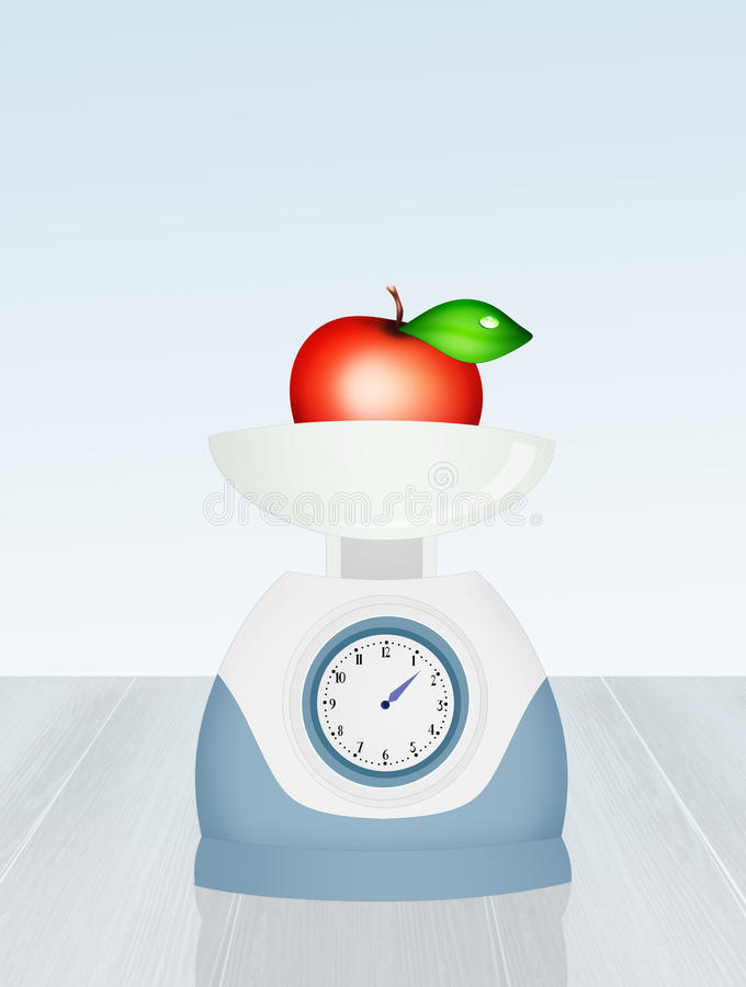 Apple on weighing scales food vector illustration