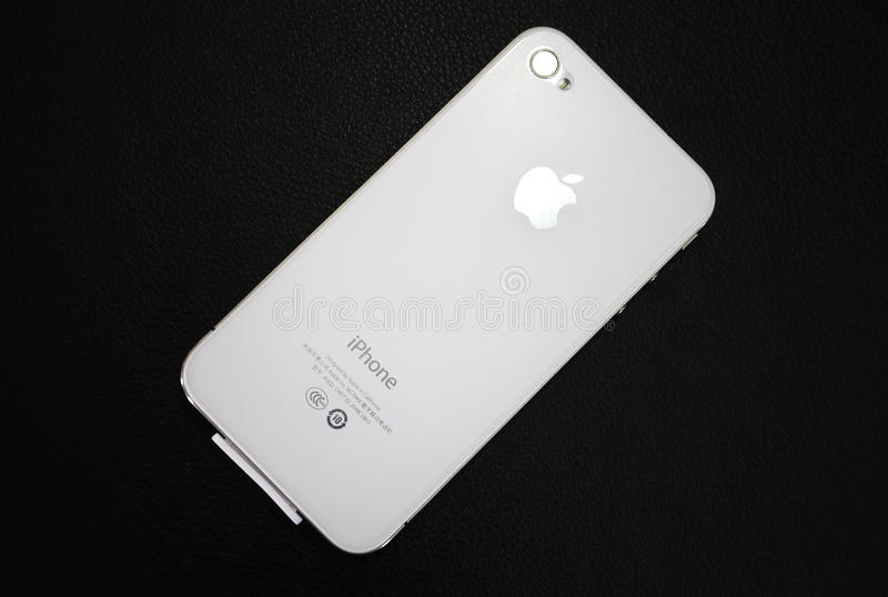 Apple White Iphone over black background royalty free stock photography