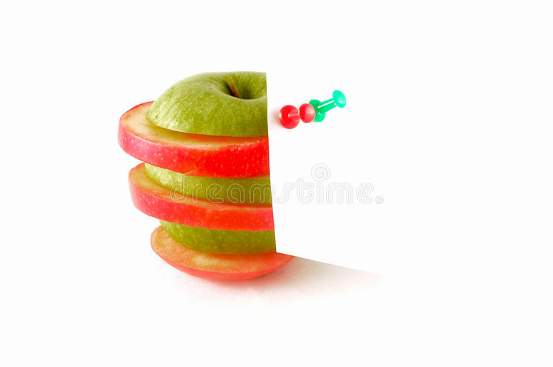Apple with white note stock photo