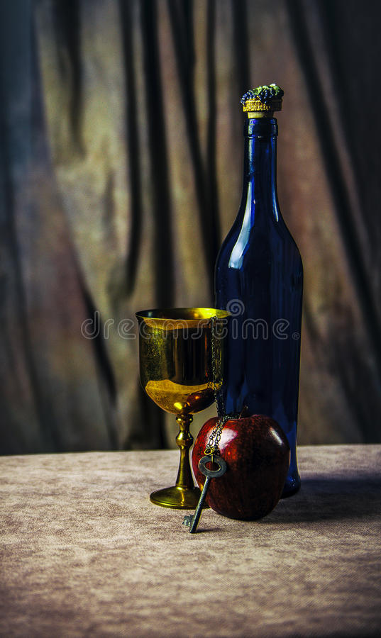 Apple and wine stock image