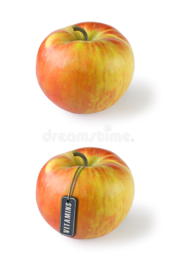 Free Apple With Tag Vitamins Stock Images - 1689634