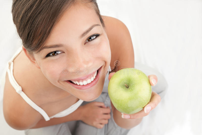 Download Apple woman stock image. Image of friendly, green, girl - 13916655