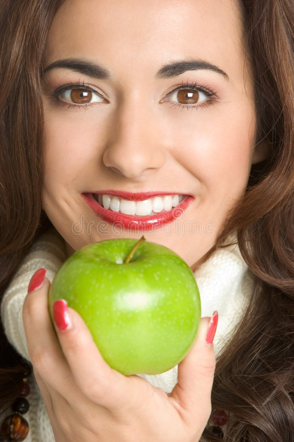Download Apple Woman stock photo. Image of close, white, green - 3947116